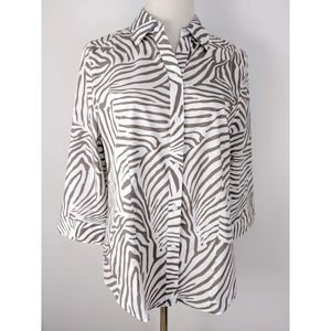 Chico's Animal Print Front Button Shirt